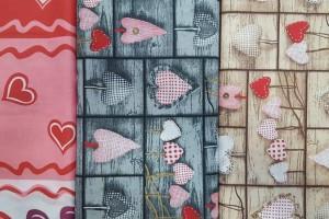 Sklep włókienniczy materiał w serduszka różne kolory