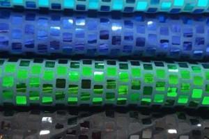 Sklep włókienniczy materiał w krateczkę świecący