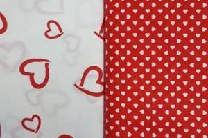 Sklep włókienniczy materiał czerwono-biały w serduszka