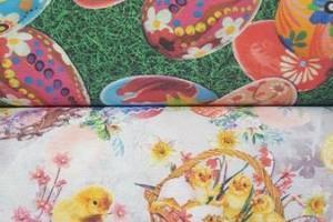 Sklep włókienniczy tkanina motyw wielkanocny jajka koszyczki