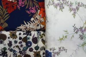 Sklep włókienniczy tkanina kolorowa w liście kwiaty