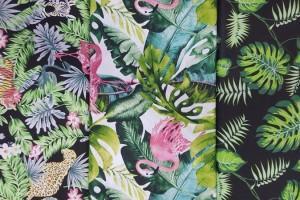 Sklep włókienniczy tkanina ze wzorami w liście kolorowe