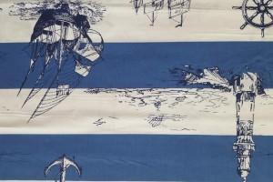 Sklep włókienniczy materiał biało niebieski w statki kotwicę