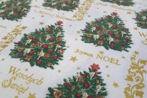 Sklep włókienniczy materiał świąteczny z choinką