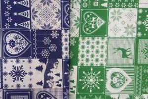Sklep włókienniczy materiał świąteczny w kratkę niebiesko-zieloną