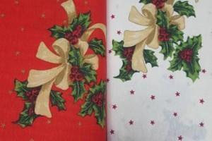 Sklep włókienniczy materiał świąteczny biało-czerwony
