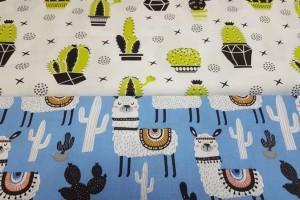 Sklep włókienniczy materiał wzór kaktusy owieczki krzyżyki