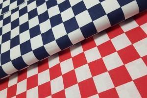 Sklep włókienniczy materiał w kratkę biało-niebiesko-czerwoną
