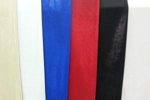 Sklep włókienniczy materiał biały niebieski czerwony czarny