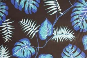 Sklep włókienniczy materiał czarny w niebieskie liście