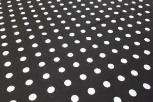 Sklep włókienniczy tkanina czarna w białe groszki