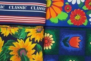 Sklep włókienniczy tkanina w kwiaty słoneczniki tulipany