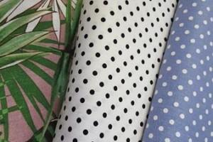 Sklep włókienniczy tkanina w ciapki groszki biało-czarne