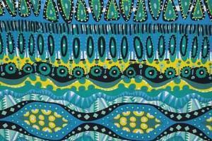 Sklep włókienniczy tkanina kolorowa zielono-niebiesko-żółta