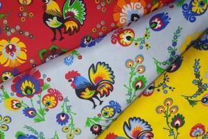 Sklep włókienniczy materiał folklor czerwony żółty