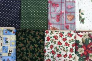 Sklep włókienniczy materiał różne wzory kwiaty serduszka