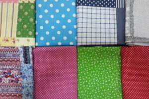 Sklep włókienniczy materiał różne wzory kropki kratka