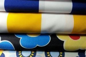 Sklep włókienniczy tkanina różne  wzory paski kwiaty