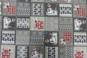 Sklep włókienniczy materiał z motywem świąt bałwanek śnieżki