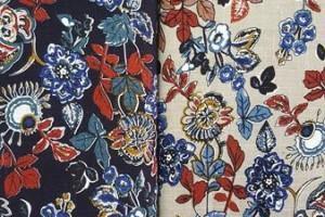 Sklep włókienniczy tkanina w różne wzorki kwiaty listki