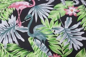 Sklep włókienniczy tkanina czarna liście pelikany