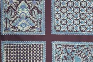 Sklep włókienniczy materiał w kwadraty ze wzorem