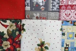 Sklep włókienniczy materiał z motywem świątecznym bożego narodzenia