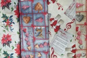 Sklep włókienniczy materiał z motywem świątecznym wigilijnym